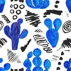 Seamless pattern Hand painted set of decorative cactus in fantasy style spots, smears, Set of flowering plants, cactus blue