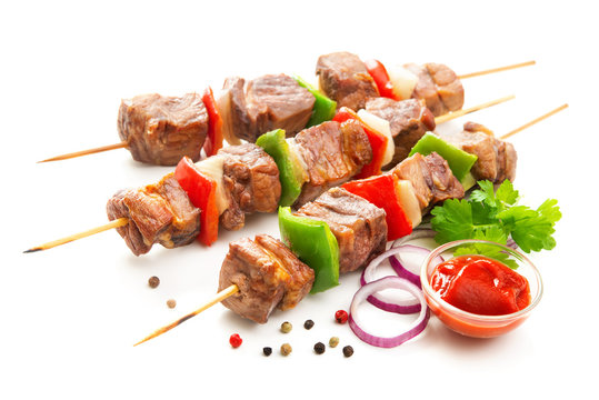 Kebabs - grilled meat and vegetables on skewers