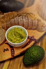 Guacamole dip with white bread