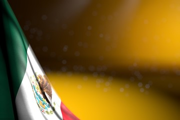 nice picture of Mexico flag hangs diagonal on yellow with soft focus and free place for text - any occasion flag 3d illustration..