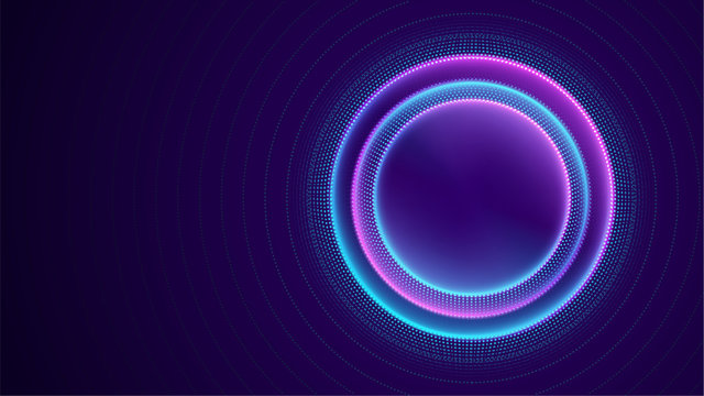 Neon circle with dots light effect on black background. Modern round frame with empty space for text for advertising, banner, card. Vector illustration.