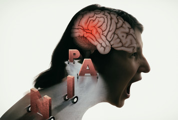 Concept of Head Pain. Crying woman with headache, migraine, stress, PTSD etc. Image