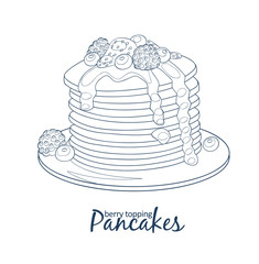 Pancakes with berries and honey icon. Hand drawn vector illustration black and white colors