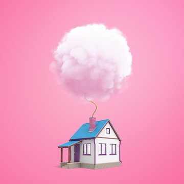 3d rendering of a small one-storeyed detached house with a chimney from which a wick is leading up into a round fluffy cloud.