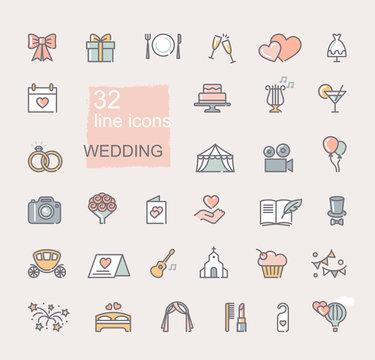 Wedding icon set. Line colored symbols. Vector icons