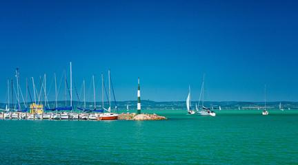 Sailboats in the port on lake Balaton in summer