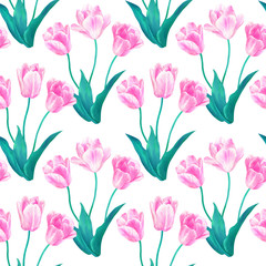 Seamless pattern with bouquets of three pink tulips with green leaves in pastel colors. Hand drawn watercolor illustration. Isolated on white background.