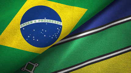 Amapa state and Brazil flags textile cloth, fabric texture Fototapete