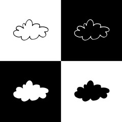 Cute monochrome cloud icon set for web sites and apps. Sweet doodle black and white cloud icon set. Isolated funny vector cloud icon set for various projects.