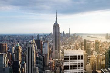 Photo sur Aluminium New York New York City. Manhattan downtown skyline at sunset