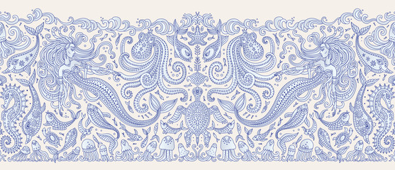 Vector seamless Border pattern. Fantasy mermaid, octopus, fish, sea animals dark blue contour thin line drawing on a beige background. Embroidery, wallpaper, textile print, wrapping paper