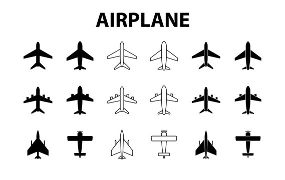 Big set of airplanes. Plane icon, passenger airplane, aircraft. Vector Illustration.