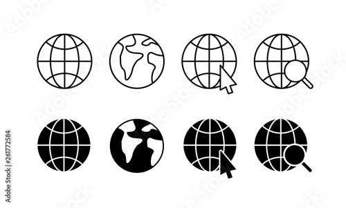 Wall mural Globe and earth planet web icons in line style. Navigational Equipment, Planet Earth, Airplane, Map. Vector illustration.