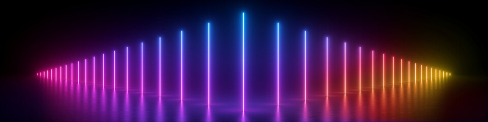 3d render, abstract panoramic background, glowing vertical lines, neon lights, ultraviolet spectrum, virtual reality, laser show