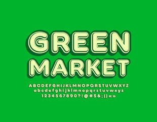 Vector retro style logotype Green Market with 3D Font. Isometric vintage Alphabet Letters, Numbers and Symbols