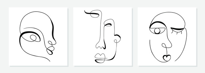 Custom blinds with your photo One line drawing abstract face. Modern single line art man and woman portrait, minimalist contour. Great for home decor such as posters, wall art, tote bag, t-shirt print, sticker, mobile case. Vector