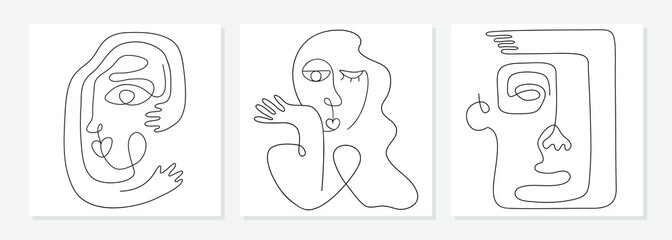 One line drawing abstract face. Modern continuous line art man and woman portrait, minimalist contour. Great for home decor such as posters, wall art, tote bag, t-shirt print, mobile case. Vector
