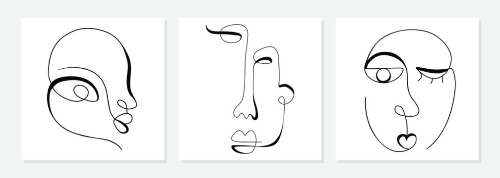 One line drawing abstract face. Modern single line art man and woman portrait, minimalist contour. Great for home decor such as posters, wall art, tote bag, t-shirt print, sticker, mobile case. Vector