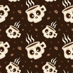 Coffee skull seamless pattern background