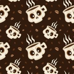 Coffee skull seamless pattern background