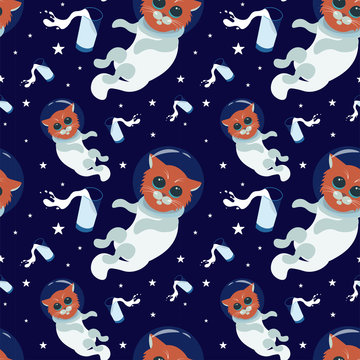 Cute cats astronauts in helmets with milk in the cosmos seamless pattern. For kids design, fabric, textile, apparel.