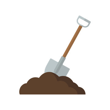 Shovel in soil illustration. Vector. Flat design.