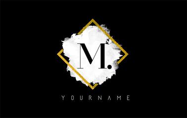 M Letter Logo Design with White Stroke and Golden Frame. Wall mural
