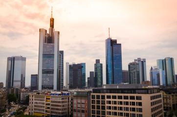 Fototapeta Business Buildings aerial view in Frankfurt, Germany