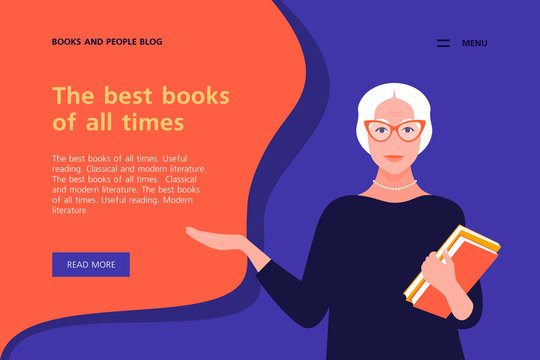 Old woman holds books in her hands. Horizontal banner with text. Website layout. Vector flat illustration