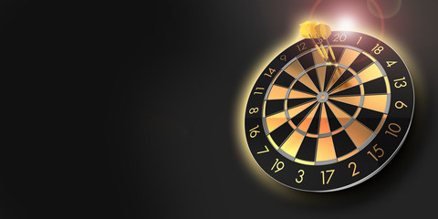 festive black and glossy golden dart board with copy space and lens flare and a score of 180  - 3D rendering