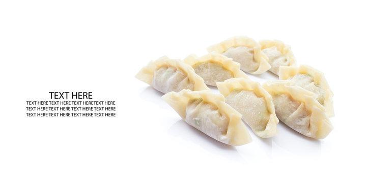 raw dumplings or gyoza isolated on white background