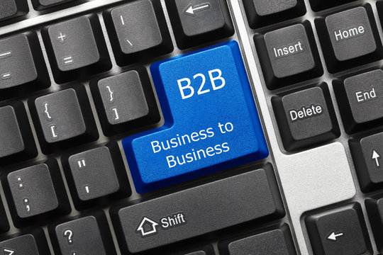 Conceptual keyboard - Business to Business (blue key)
