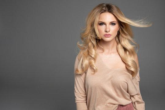 Fashion photo of a beautiful elegant young woman