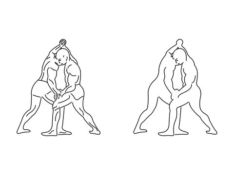 Two wrestlers competing