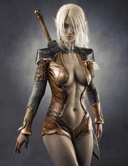 Fototapeta Portrait of a fantasy dark elf female warrior with white long hair. 3d rendering . Fantasy illustration obraz