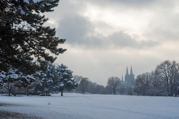 Snow in City of Cologne, Germany