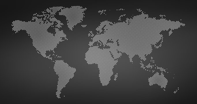 Black halftone dotted world map. Vector illustration. Dotted map in flat design. Vector illustration isolated on black background