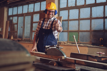 Carpenter posing on his workplace in carpentry workshop - Happy Carpenter