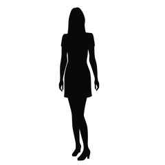 Silhouette of a woman standing in a summer dress,  vector illustration, black color, isolated on white background