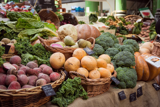 Vegetable stall in Borough Market. London, 2017. Landscape format.