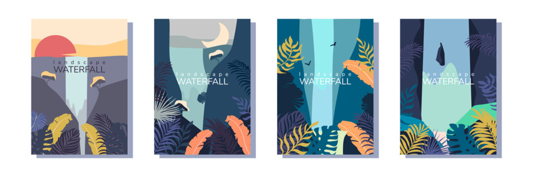 Set of vector landscape with waterfall.