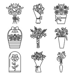 Set of flowers bouquet icons. Contains icons - chamomile, rose flower, calla, tulip, peony and others. Vector.