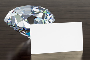 Jeweler Business Card on the wooden desk background. 3D rendering