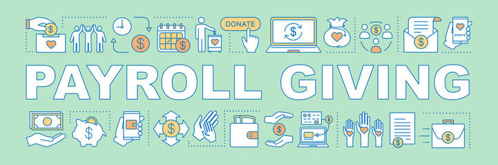 Payroll giving word concepts banner