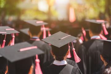 Shot of graduation hats during commencement success graduates of the university, Education congratulation in University.