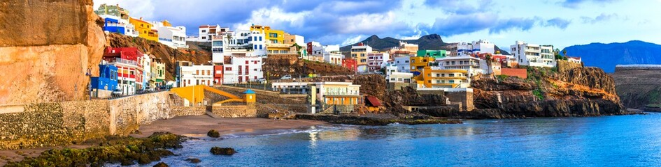 Travel in Grand Canary - scenic coastal town Puerto de Sardina in north. Canary islands Fototapete