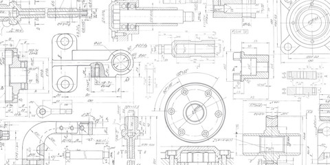 Technical drawing background .Mechanical Engineering drawing. Wall mural