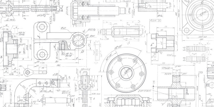 Technical drawing background .Mechanical Engineering drawing.