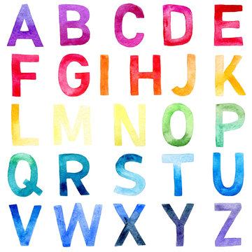 rainbow alphabet painted with watercolor