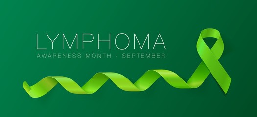 Lymphoma Awareness Calligraphy Poster Design. Realistic Lime Green Ribbon. September is Cancer Awareness Month. Vector